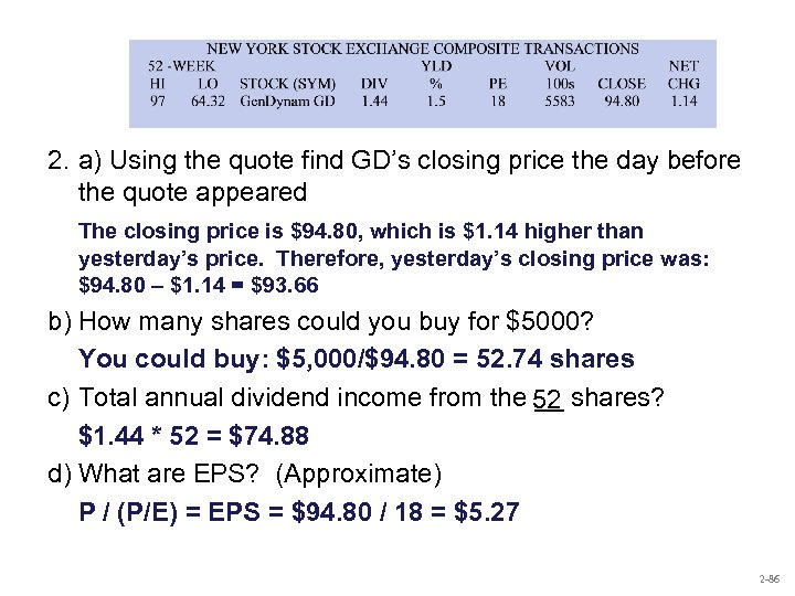 2. a) Using the quote find GD's closing price the day before the quote