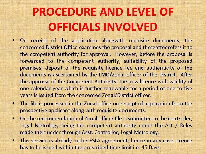 PROCEDURE AND LEVEL OF OFFICIALS INVOLVED • On receipt of the application alongwith requisite