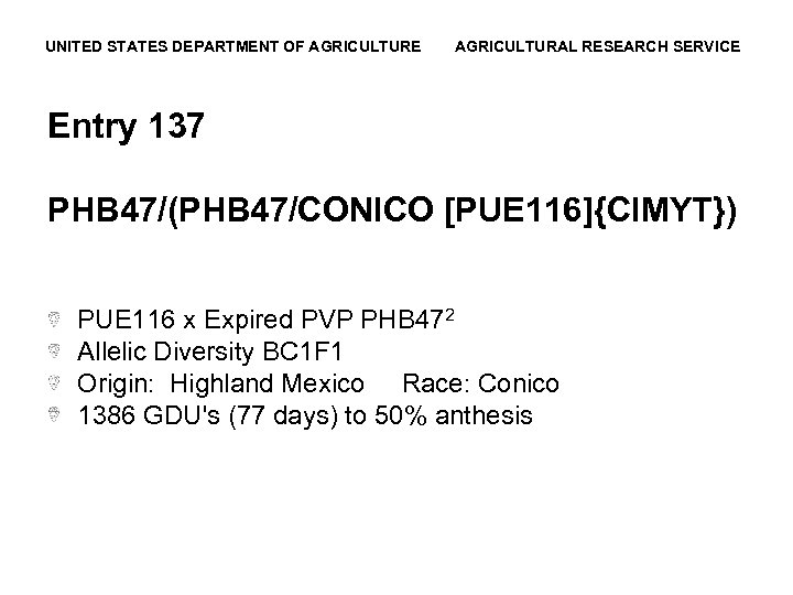 UNITED STATES DEPARTMENT OF AGRICULTURE AGRICULTURAL RESEARCH SERVICE Entry 137 PHB 47/(PHB 47/CONICO [PUE