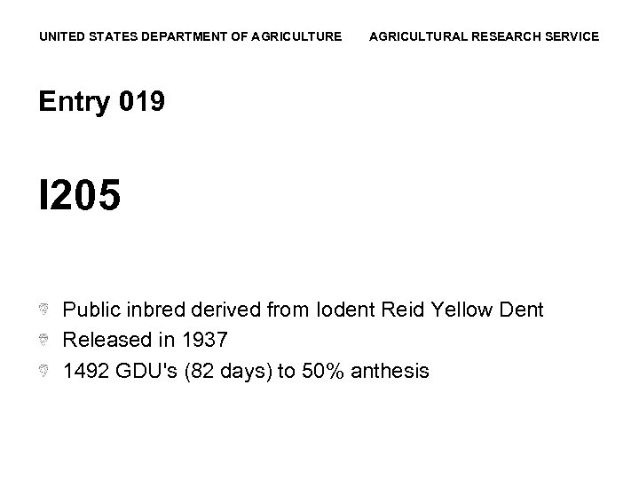 UNITED STATES DEPARTMENT OF AGRICULTURE AGRICULTURAL RESEARCH SERVICE Entry 019 I 205 Public inbred