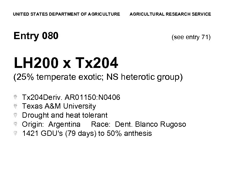 UNITED STATES DEPARTMENT OF AGRICULTURE Entry 080 AGRICULTURAL RESEARCH SERVICE (see entry 71) LH