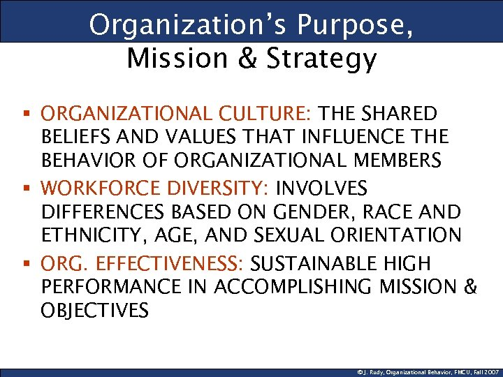Organization's Purpose, Mission & Strategy § ORGANIZATIONAL CULTURE: THE SHARED BELIEFS AND VALUES THAT