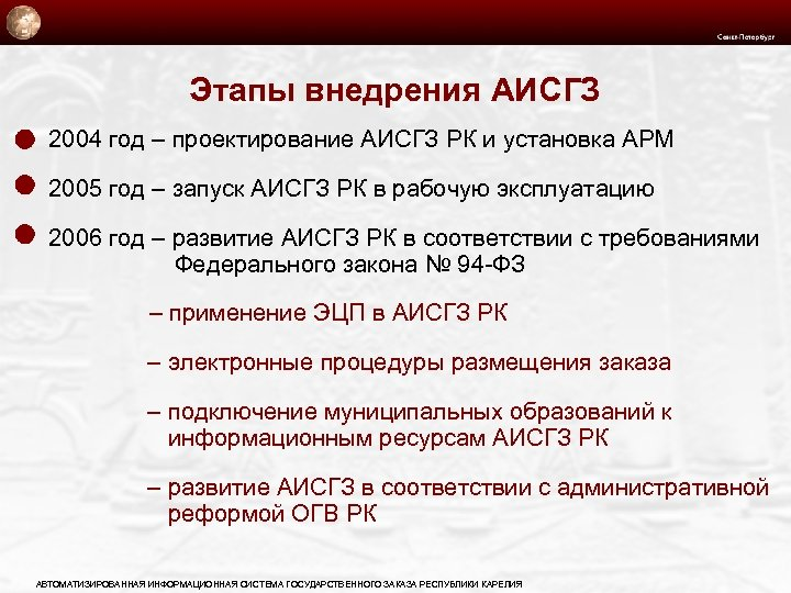 Этапы внедрения АИСГЗ 2004 год – проектирование АИСГЗ РК и установка АРМ 2005 год