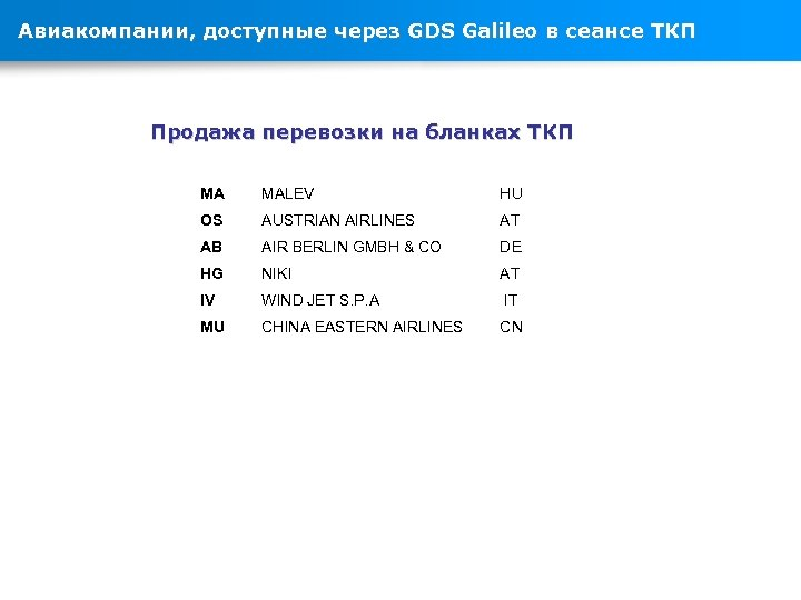 Авиакомпании, доступные через GDS Galileo в сеансе ТКП Продажа перевозки на бланках ТКП MA
