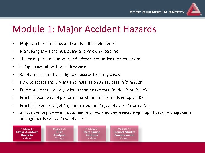 Module 1: Major Accident Hazards • Major accident hazards and safety critical elements •