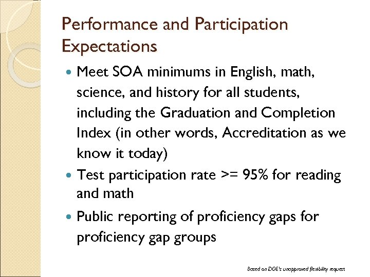 Performance and Participation Expectations Meet SOA minimums in English, math, science, and history for