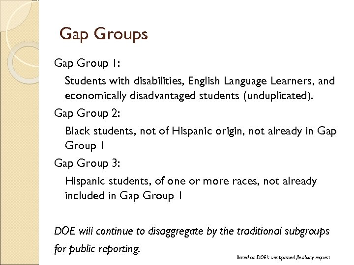 Gap Groups Gap Group 1: Students with disabilities, English Language Learners, and economically disadvantaged
