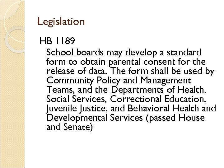 Legislation HB 1189 School boards may develop a standard form to obtain parental consent