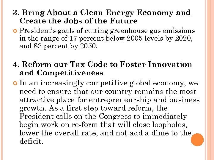 3. Bring About a Clean Energy Economy and Create the Jobs of the Future