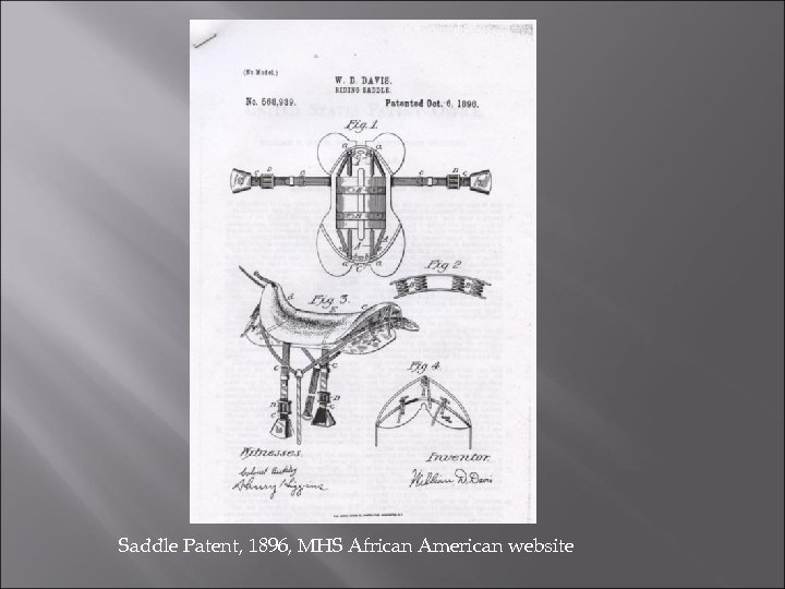 Saddle Patent, 1896, MHS African American website