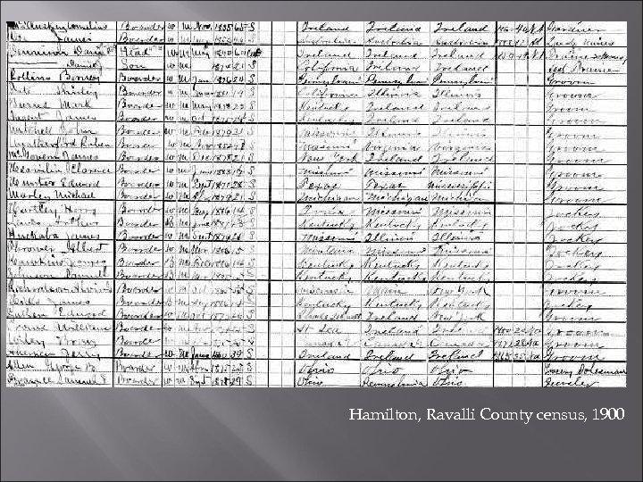Hamilton, Ravalli County census, 1900