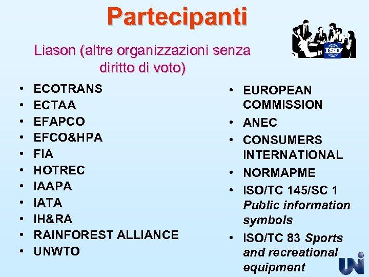 Partecipanti Liason (altre organizzazioni senza diritto di voto) • • • ECOTRANS ECTAA EFAPCO