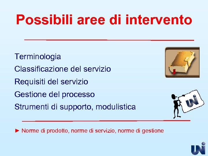 Possibili aree di intervento Terminologia Classificazione del servizio Requisiti del servizio Gestione del processo