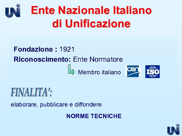 Ente Nazionale Italiano di Unificazione Fondazione : 1921 Riconoscimento: Ente Normatore Membro italiano elaborare,