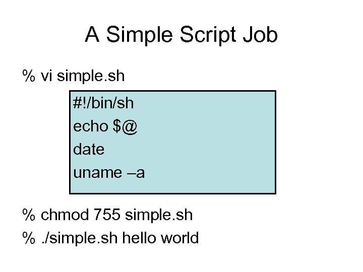 A Simple Script Job % vi simple. sh #!/bin/sh echo $@ date uname –a