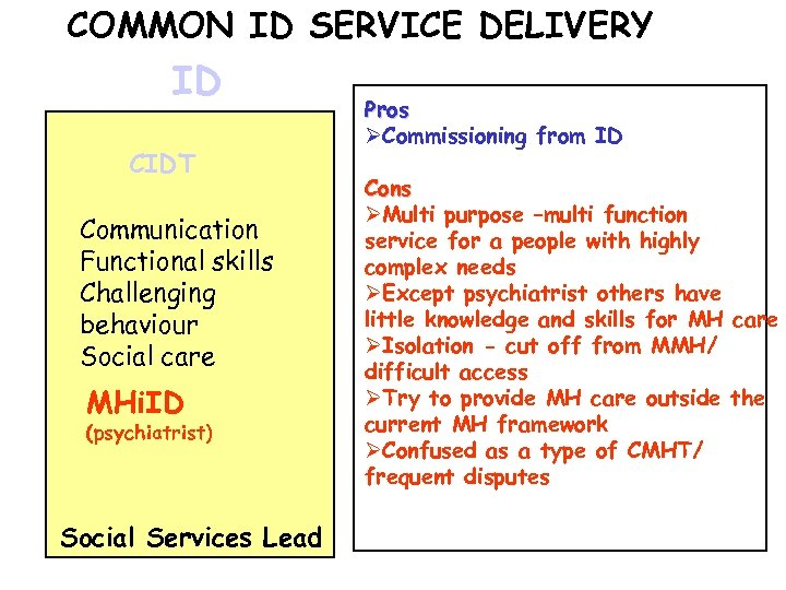 COMMON ID SERVICE DELIVERY ID CIDT Communication Functional skills Challenging behaviour Social care MHi.
