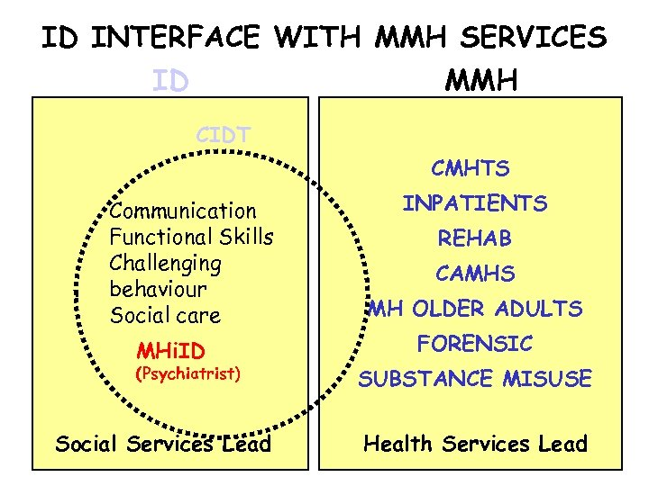 ID INTERFACE WITH MMH SERVICES ID MMH CIDT CMHTS Communication Functional Skills Challenging behaviour