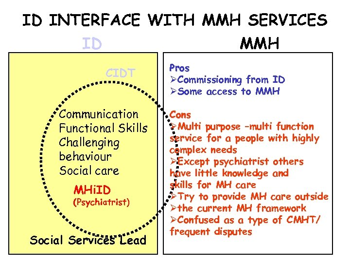 ID INTERFACE WITH MMH SERVICES ID MMH CIDT Communication Functional Skills Challenging behaviour Social