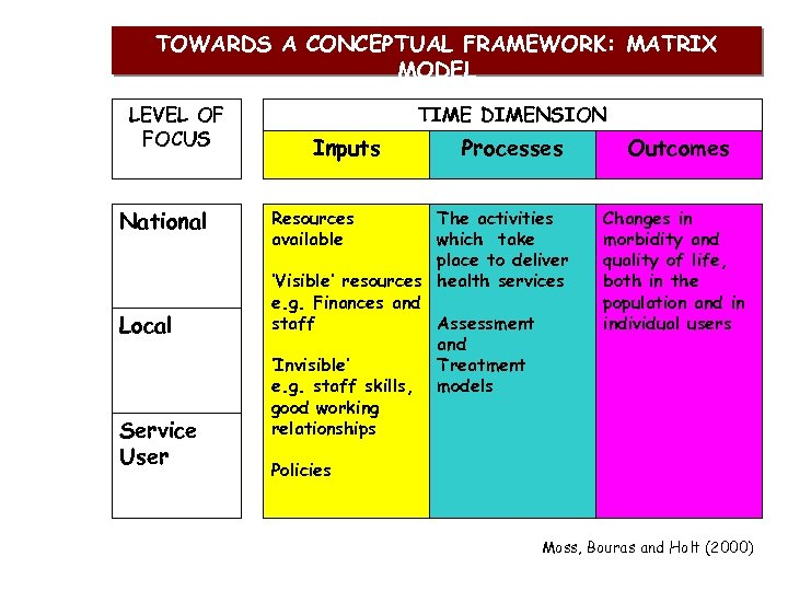 TOWARDS A CONCEPTUAL FRAMEWORK: MATRIX MODEL LEVEL OF FOCUS National Local Service User TIME