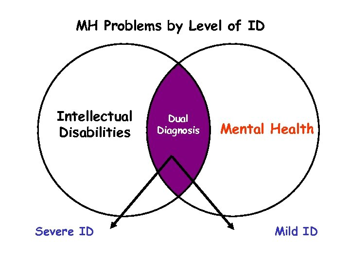 MH Problems by Level of ID Intellectual Disabilities Severe ID Dual Diagnosis Mental Health