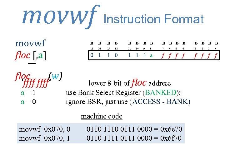 movwf Instruction Format movwf floc [, a] floc (w) 'ffff' a=1 a=0 B B