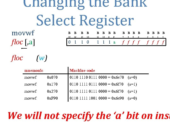 Changing the Bank Select Register movwf floc [, a] floc B B B B