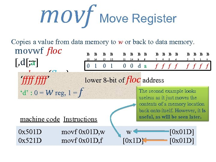 movf Move Register Copies a value from data memory to w or back to