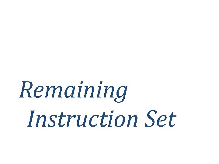 Remaining Instruction Set