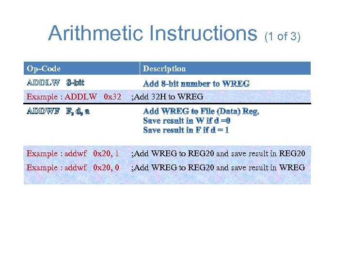 Arithmetic Instructions (1 of 3) Op-Code Description ADDLW 8 -bit Example : ADDLW 0