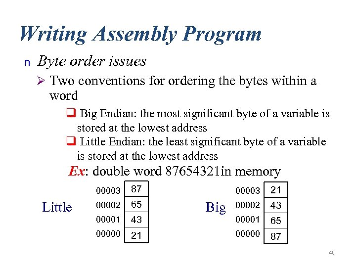Writing Assembly Program n Byte order issues Ø Two conventions for ordering the bytes