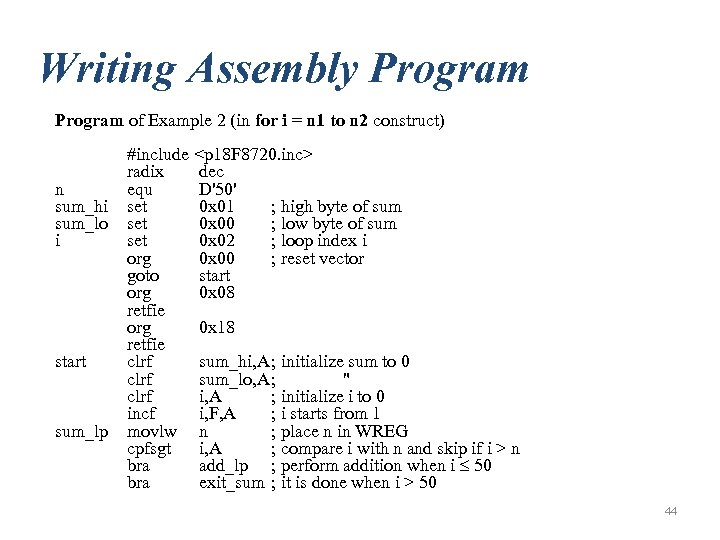 Writing Assembly Program of Example 2 (in for i = n 1 to n