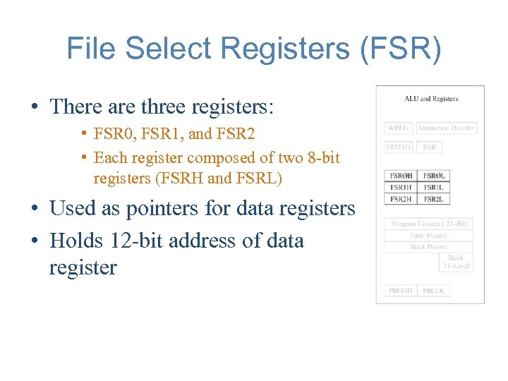 File Select Registers (FSR) • There are three registers: • FSR 0, FSR 1,