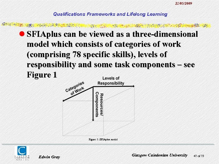 21/05/2009 Qualifications Frameworks and Lifelong Learning l SFIAplus can be viewed as a three-dimensional