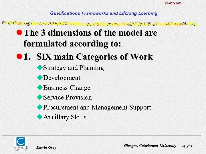 21/05/2009 Qualifications Frameworks and Lifelong Learning l The 3 dimensions of the model are