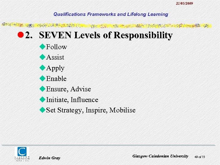21/05/2009 Qualifications Frameworks and Lifelong Learning l 2. SEVEN Levels of Responsibility u. Follow