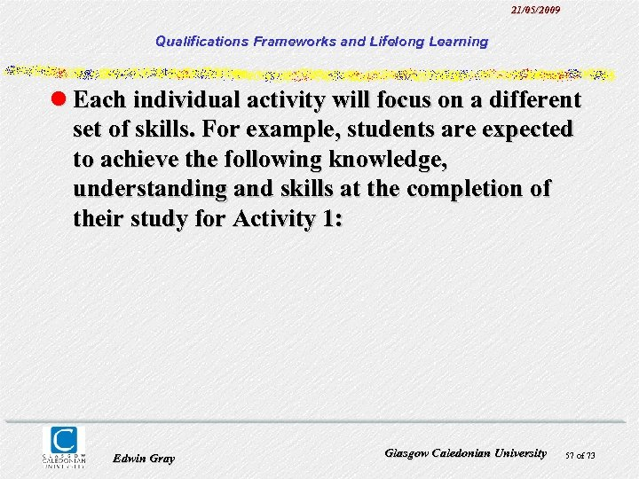 21/05/2009 Qualifications Frameworks and Lifelong Learning l Each individual activity will focus on a