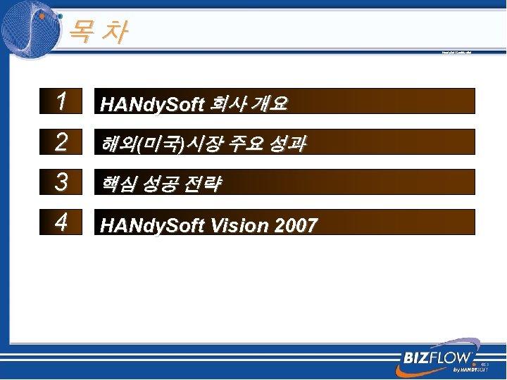 목차 Handy. Soft Confidential 1 HANdy. Soft 회사 개요 2 해외(미국)시장 주요 성과 3