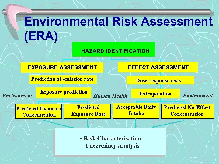 Environmental Risk Assessment (ERA) HAZARD IDENTIFICATION EXPOSURE ASSESSMENT EFFECT ASSESSMENT Prediction of emission rate