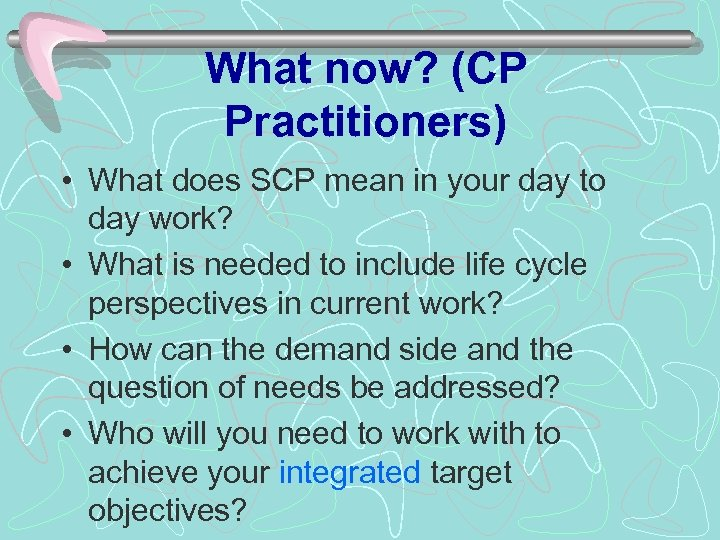 What now? (CP Practitioners) • What does SCP mean in your day to day