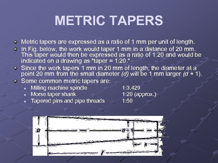 METRIC TAPERS Metric tapers are expressed as a ratio of 1 mm per unit
