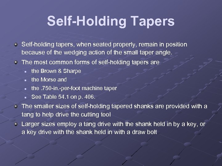 Self-Holding Tapers Self holding tapers, when seated properly, remain in position because of the