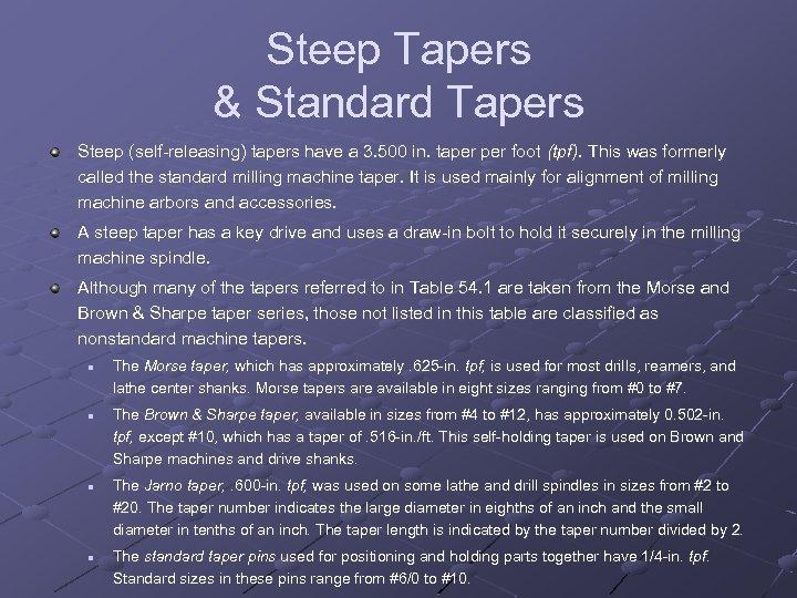 Steep Tapers & Standard Tapers Steep (self releasing) tapers have a 3. 500 in.