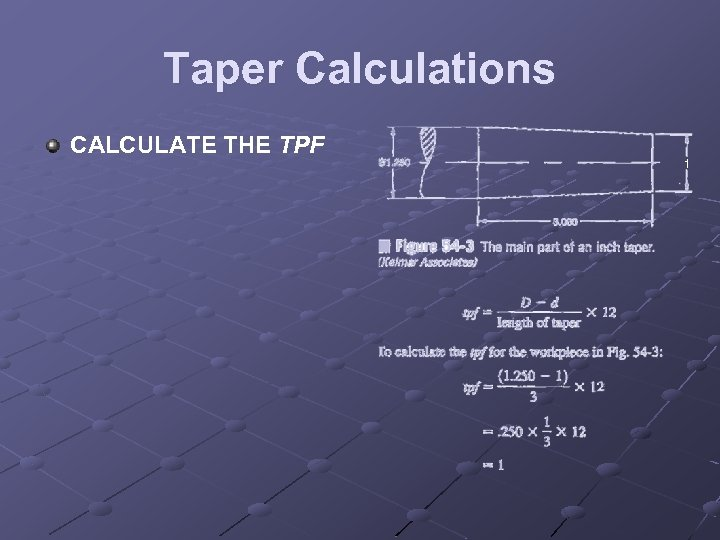 Taper Calculations CALCULATE THE TPF 1