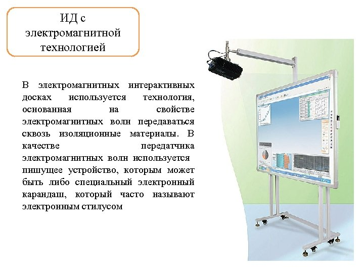 ИД с электромагнитной технологией В электромагнитных интерактивных досках используется технология, основанная на свойстве электромагнитных