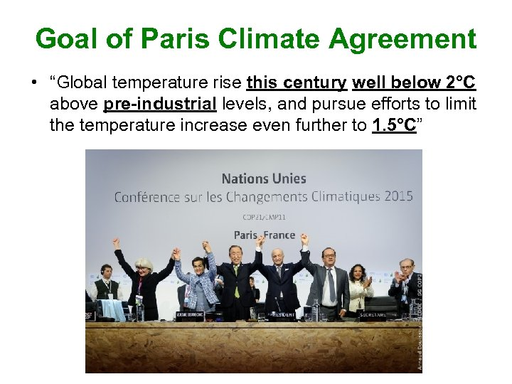 """Goal of Paris Climate Agreement • """"Global temperature rise this century well below 2°C"""