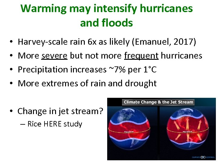 Warming may intensify hurricanes and floods • • Harvey-scale rain 6 x as likely