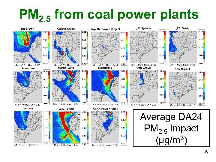 PM 2. 5 from coal power plants Average DA 24 PM 2. 5 Impact