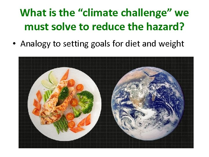 """What is the """"climate challenge"""" we must solve to reduce the hazard? • Analogy"""