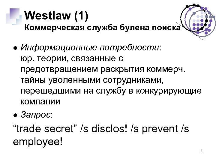 Westlaw (1) Коммерческая служба булева поиска Информационные потребности: юр. теории, связанные с предотвращением раскрытия