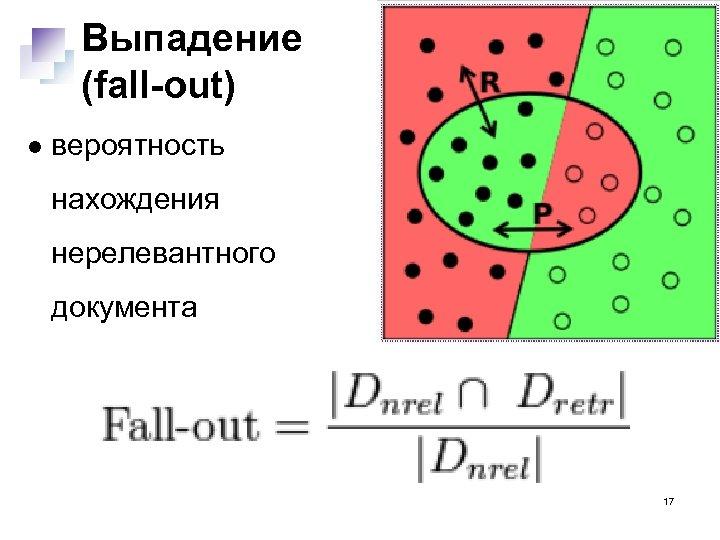 Выпадение (fall-out) вероятность нахождения нерелевантного документа 17